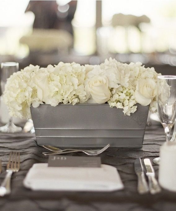 Grey Container white flowers. Masculine/Feminie