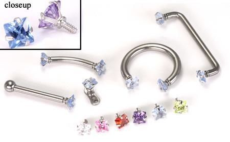 $2.49/each This square, princess-cut, prong-set gem makes a great addition to any 12g or 14g internally-threaded body jewelry with a matching 1.2mm internal thread pattern. Wear this princess-cut square jeweled end with labret studs, dermal anchors...
