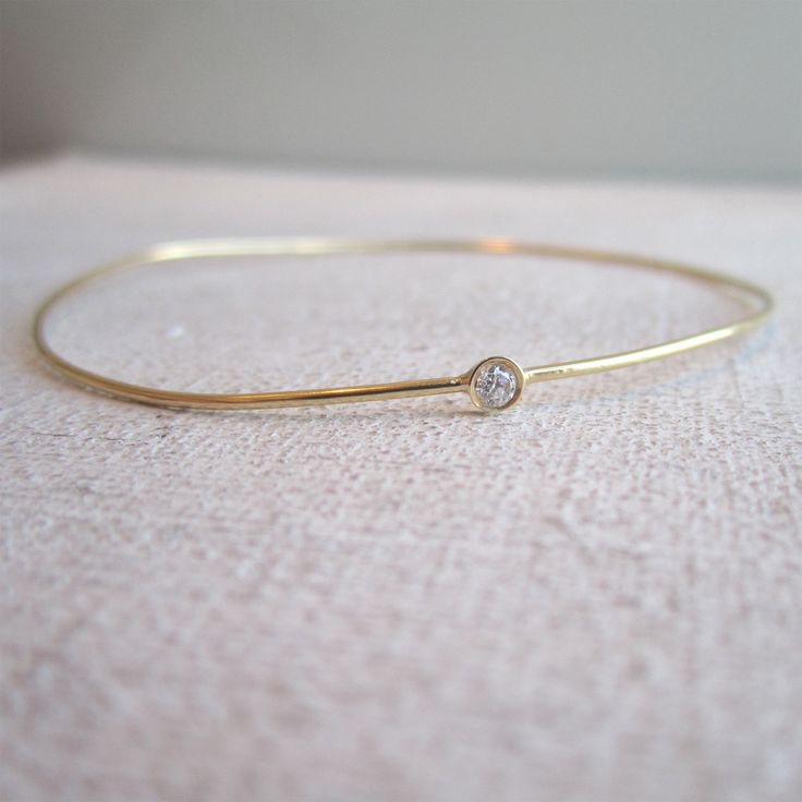 Thin Rounded Bangle with .05ct Diamond