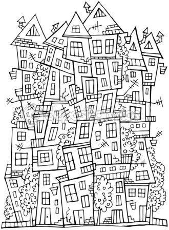 Векторного рисования контуров город — Stock Illustration #25791021