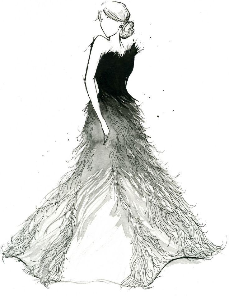 watercolor fashion illustration fade to white print