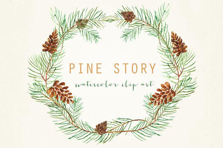 Pine Watercolor Hand drawn clipart set Pine. Romantic wedding, tender, green wreath, Pine cone arrangements. Romantic et tender composition with watercolour Pine cone.Wedding clip art. This