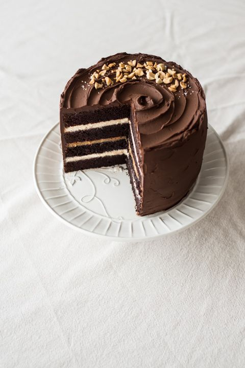 snickers chocolate cake with salted caramel, peanut butter cream cheese filling & chocolate ganache