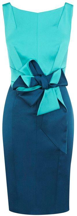 Karen Millen Beautiful Satin Dress in Turquoise --- no where to wear, but it's purdy!