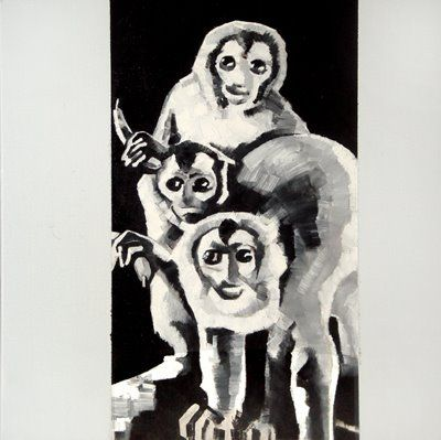 The Krasnals: Monkeys with white bananas; 2010, canvas print, 50 x 50 cm. This artwork was created as an answer to Wilhelm Sasnal's Group of monkeys with white margin and caused great confusion - well-rated auction house Christie's sold it for 70 000 $. The action, using The Krasnals' painting, has shown and ridiculed a mechanism of functioning the art market and mind-set of critics.