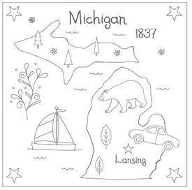 It would be really fun to do an embroidery project of all 50 states! http://www.theflossbox.com/store/pattern/michigan-embroidery