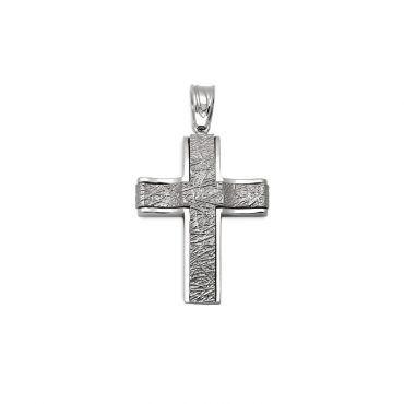 Ιδιαίτερος βαπτιστικός σταυρός για αγόρι λευκόχρυσος Κ14 με ματ ανάγλυφη επιφάνεια και κυματοειδή μορφή | Βαπτιστικοί σταυροί ΤΣΑΛΔΑΡΗΣ στο Χαλάνδρι #σταυρος #βαπτισης #αγόρι