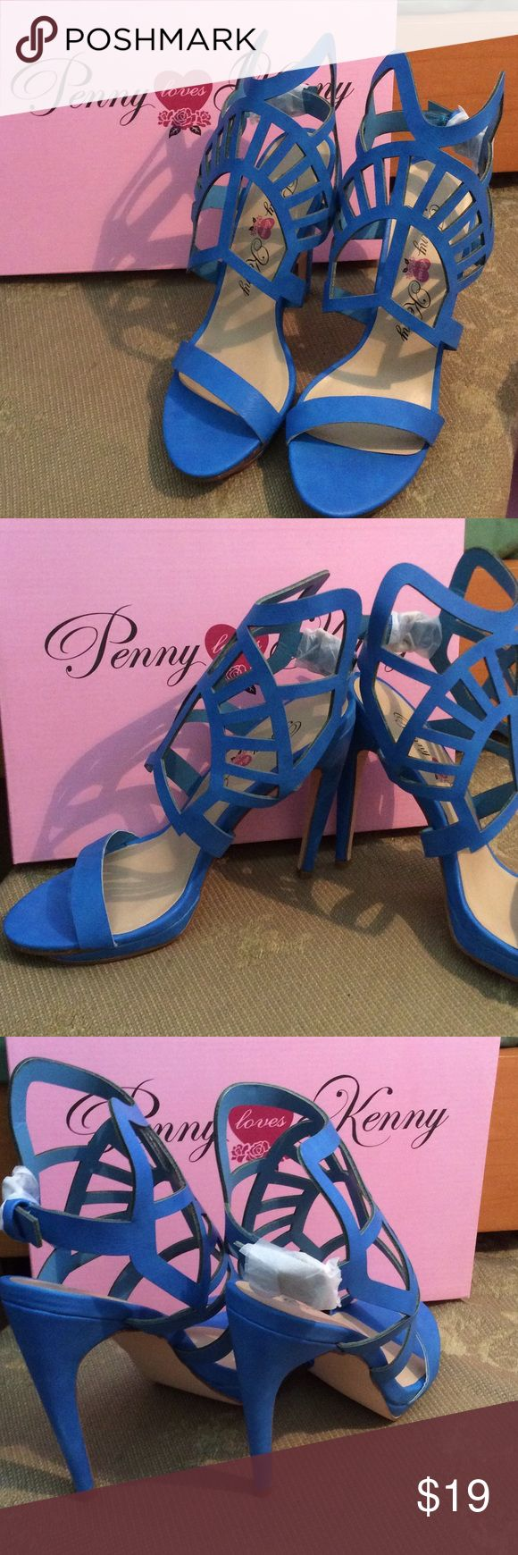 Blue new  laser cut cage shoes 8 last pair👠👠 Blue 5 inch heels. Cage styling with silver buckle in the back. Fun color for flirting with fall. Penny loves kenny Shoes Heels