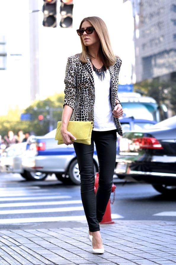 leopard blazer + spike necklace