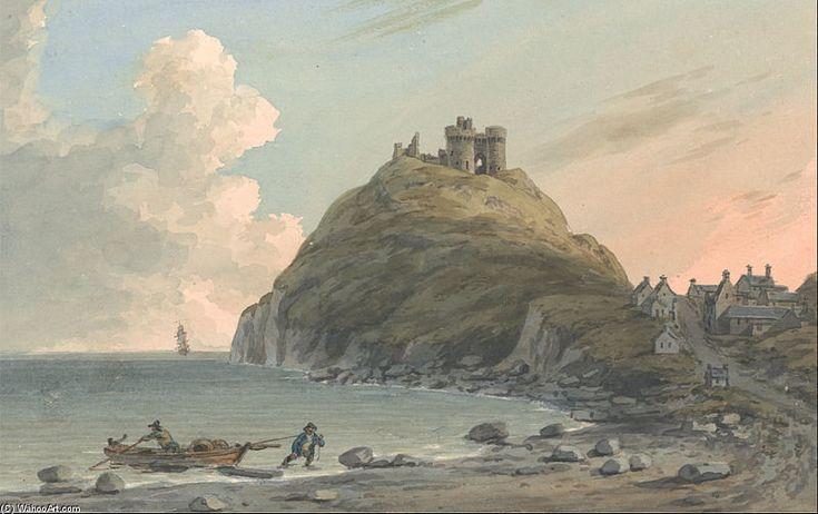 Ruines du château Cricceith et une partie de la ville sur la baie de Cardigan sur de John Warwick Smith (1749-1831, United Kingdom)