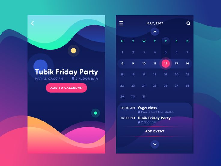 Bright Vibe Calendartubikapp,bright,calendar,color,design,interface,mobile,task manager,ui,ux