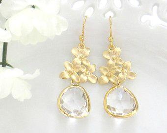 Clear Earrings, Cherry Blossom Dangle Earrings, Mothers Day Gift, Drop Earrings, Earrings for Her, Earrings for Mom, Bridesmaids