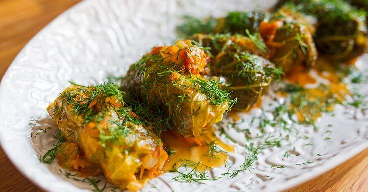 Mamushka author Olia Hercules makes pork-stuffed cabbage braised in tomato sauce.