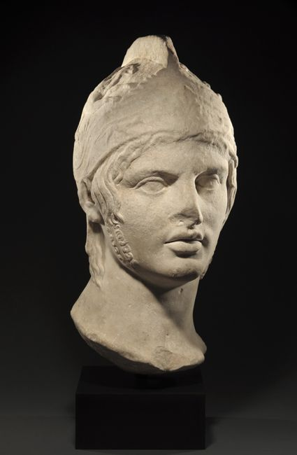Roman Monumental Marble Head of Mars, God of War, 1st-2nd Century ADOf the so-called Borghese type and based upon a 5th century BC original by Alcamenes.