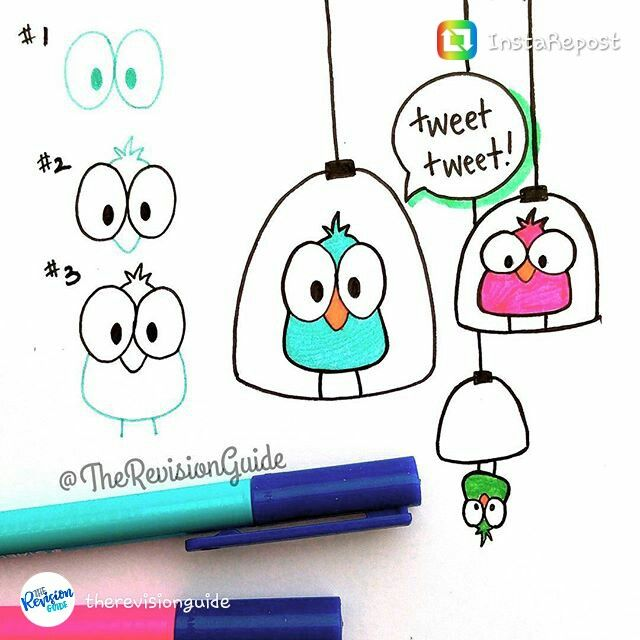 Fun doodle birds! @therevisionguide on Instagram