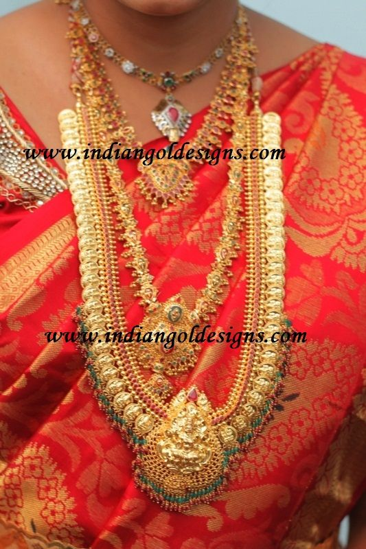 Checkout south indian gold bridal jewellery. Gold gemstone short necklace,gundmala necklace with rubies and emeralds, gold long haaram, ...
