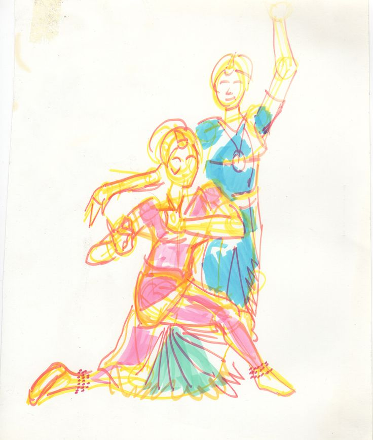 Preliminary marker sketch for 'Anisha and Anita' painting.