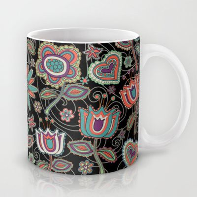 My folk flowers in black.  Mug by Juliagrifol designs - $#coffe#kitchen#design#flowers#black#pattern#society6