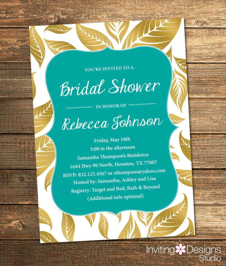 pink black and white bridal shower invitations%0A Bridal Shower Invitation  Gold and Pink  Leaves  Fall  Gold  Teal