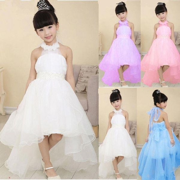 Wish | New Kids Girls Toddler Princess Party Prom Formal Wedding Beads Flower Beauty Bridesmaid Long Tail Wedding Dress Baby Girl Birthday Costume Clothes