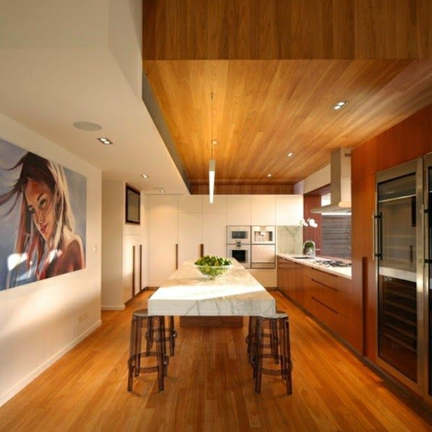 wood-false-ceiling-designs-modern-kitchen-with-wooden-ceiling.jpg (620×620)
