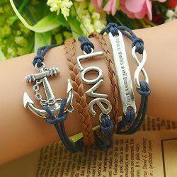Bracelet Multicouche à Breloques Ancre et Lettre Pour Femmes