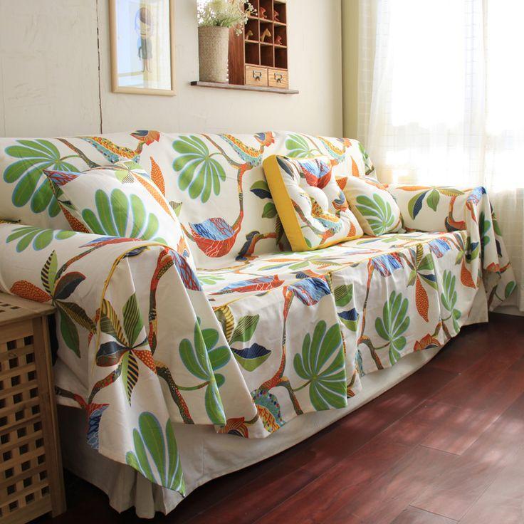 100% хлопка утолщение диван полотенце диван подушки ткань джунгли серии цветок зеленый купить на AliExpress
