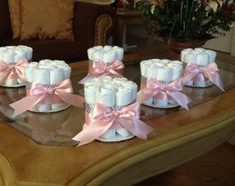 Diaper cake set of 6 diaper cakes baby girl shower pink and gray mini diaper cakes centerpieces