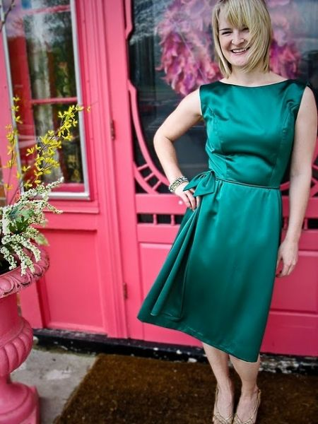 Erin - soon to be my daughter-in-law -- in 1950s green satin cocktail dress.