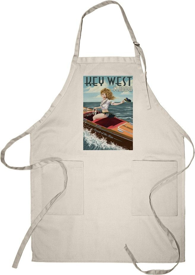 Apron (Key West, Florida - Boating Pinup Girlÿ- Lantern Press Artwork)