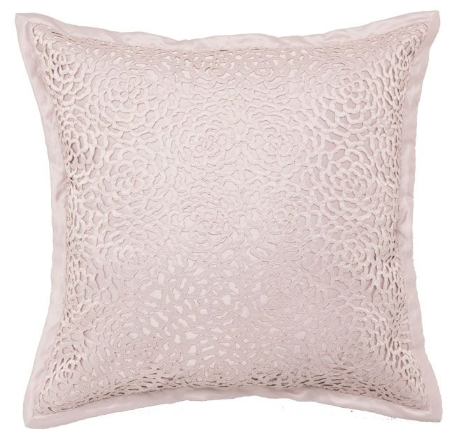 Xanthia Shell PRIVATE COLLECTION  Features: Matt satin with cut out flower panel overlay, also in matt satin Plain tailored flange Plain matt satin reverse  Dimensions: x1 European Pillowcase - 65cm x 65cm - #pillowcases