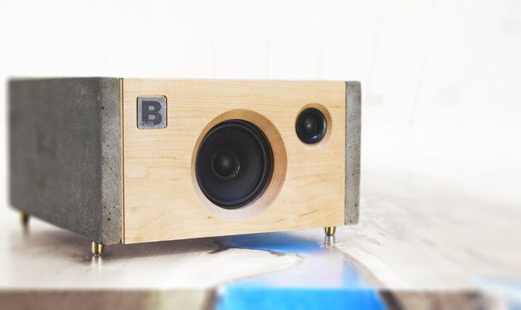 Model 3C is a powerful handmade high-end Bluetooth audio system.  Made of concrete and maple. 120 watts of audio power. By PlanB Audio