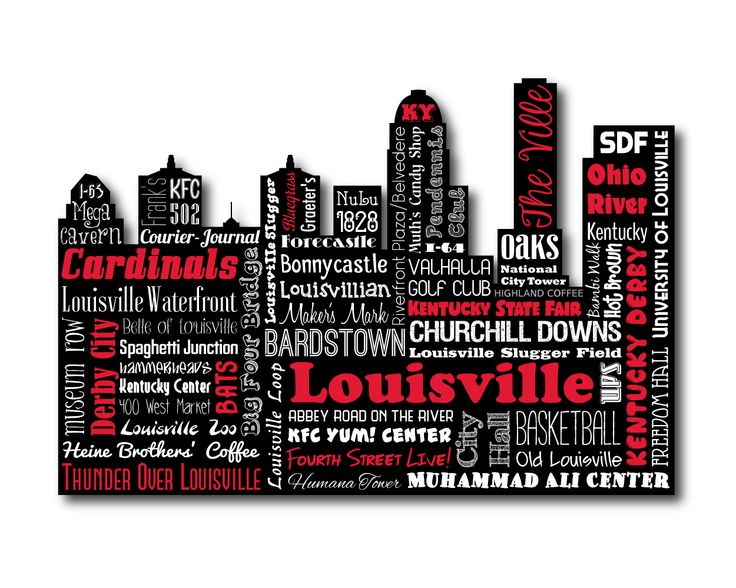 "Original artwork using words to describe ""CITY OF LOUISVILLE"" -- Show off your Derby City pride in your home with this print that details the many words for Louisville, Kentucky like Churchill Downs, Cardinals, Slugger Bats, University of Louisville and more. Come visit the Lexicon Delight Etsy store!"