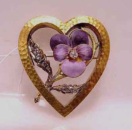 Superior Art Nouveau Brooch Gold With Purple Pansies And Diamonds.