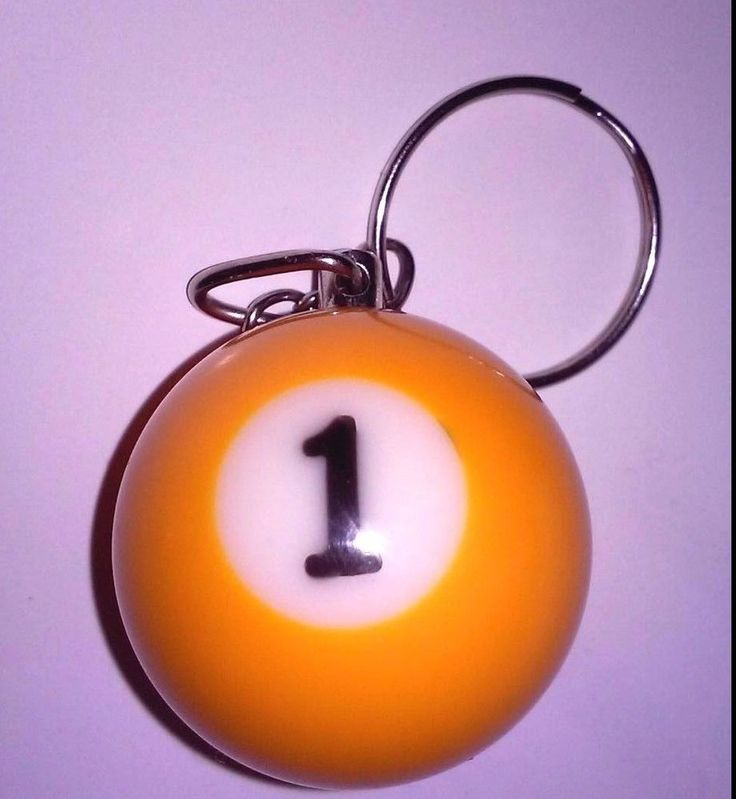 "Keychain Pool Billiards Snooker ""# 1 Ball"" Yellow Heavy Material Metal Ring"