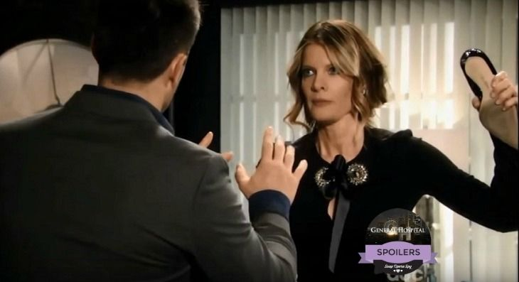 'General Hospital' (GH) spoilers reveal that Nina Clay [Michelle Stafford] will be hard hit by her break-up and will turn to the unlikeliest of people for comfort – Julian Jerome [William deVry]. Should Alexis Davis [Nancy L Grahn] be worried? Maybe so… This Franco [Roger Howarth] and Nina split wi