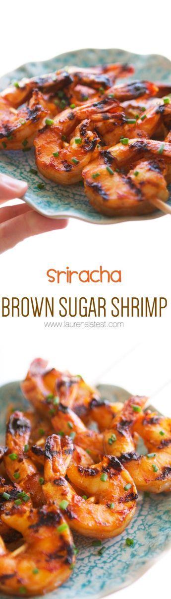 sriracha brown sugar shrimp collage