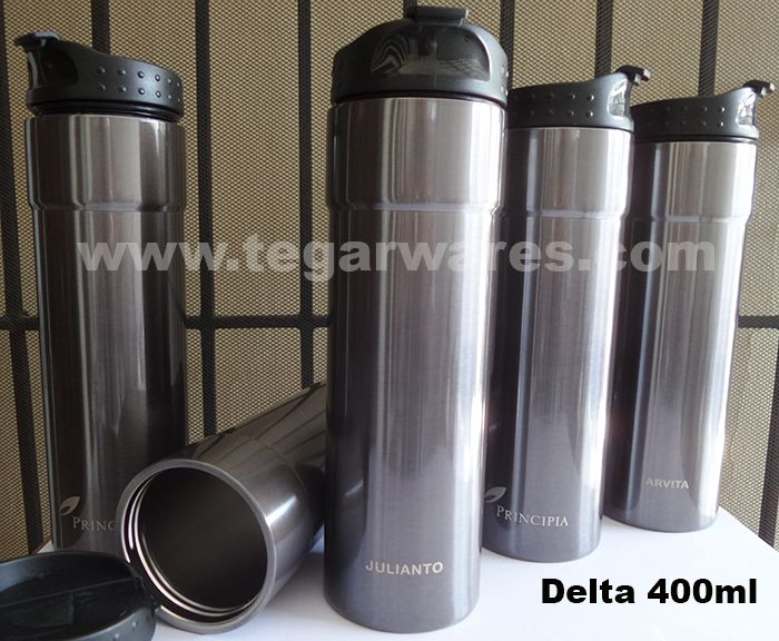 Tumbler type Delta 400ml capacity with personalized print employee's name one by one order by PT Principia Management Group, Jakarta Indonesia. Principia Management Group is a leading business consulting firm specializing in private equity and portfolio management.