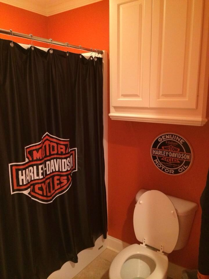 Harley Bedroom Shower Curtain Made From Pool Table Cover