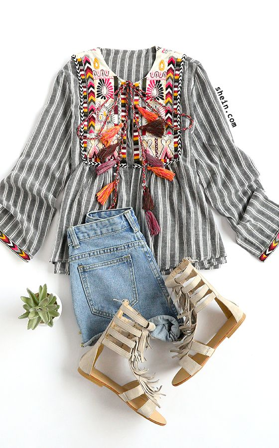 Bohemian style-Grey vertical striped embroidery tie blouse outfit.