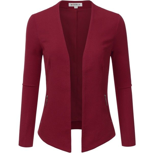 Doublju Classic Collarless Open Front Blazer Jacket (Plus size... ($38) ❤ liked on Polyvore featuring outerwear, jackets, blazers, plus size blazer jacket, plus size jackets, red jacket, collarless blazer and blazer jacket