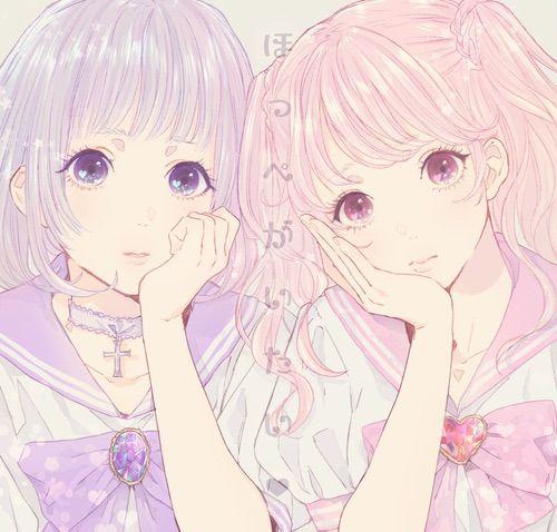 Image via We Heart It #anime #girl #manga #pink #purple #jk #魔法少女 #セーラー服 #パステル #ネックレス #病み #ゆめかわいい #チョーカー #乙女