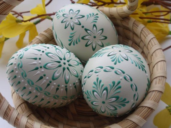 Easter Eggs, Set of 3 Decorated Green Chicken Eggs, Wax Embossed Chicken Eggs, Polish Pysanky