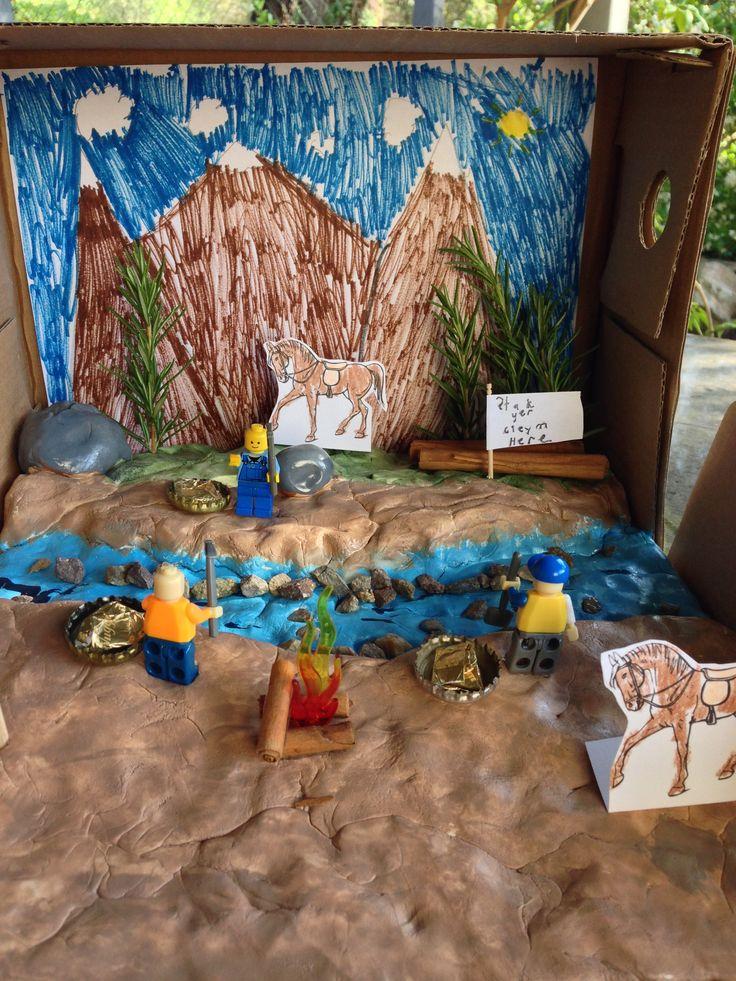 Jake's 4th Grade Diorama depicting the California Gold ...