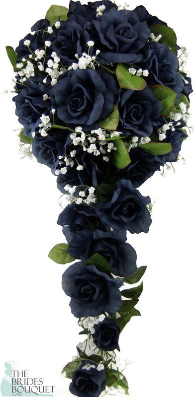 Navy Silk Rose Cascade - Wedding Bouquet