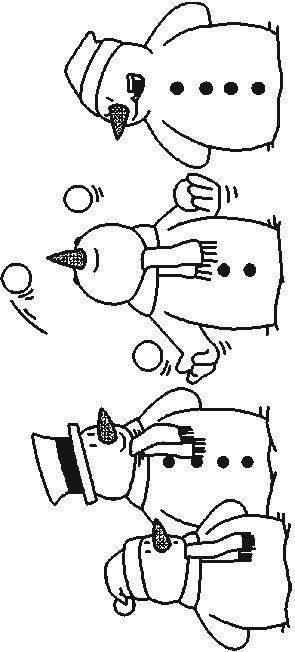 kleurplaat sneeuwpop voor op het raam  fensterbilder