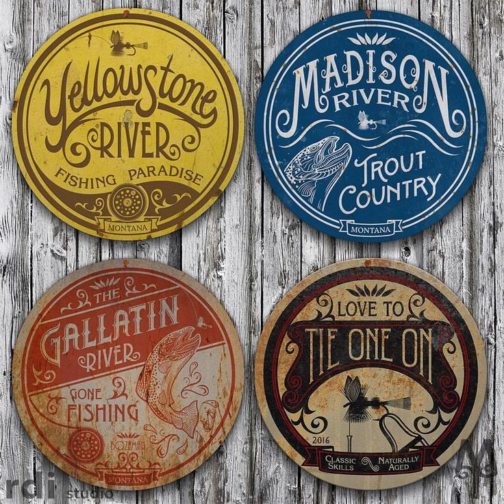 Four vintage Montana fly fishing wall signs (made by Montana Treasures) exhibited on the side of an old barn. Each vintage sign is designed in Bozeman, Montana and manufactured in the USA. Shop montana-treasures.com today!