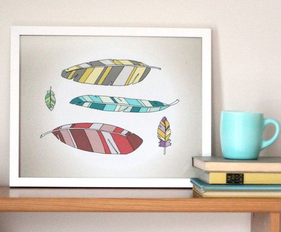 Feather Art Print. $35  http://www.etsy.com/listing/83804913/feather-art-11x14-indie-art-illustration