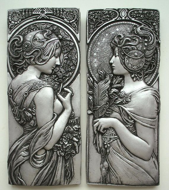 Alphonse Mucha style art nouveau plaques in от Bellacraftworks