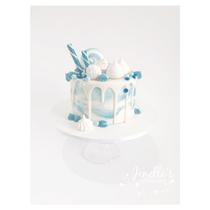 Blue buttercream drip cake. By Jenelle's Custom Cakes!